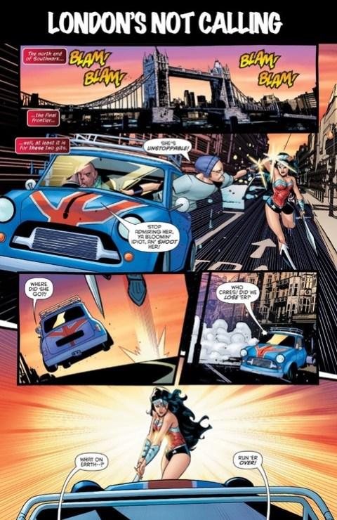 Wonder Woman chops a Mini in half