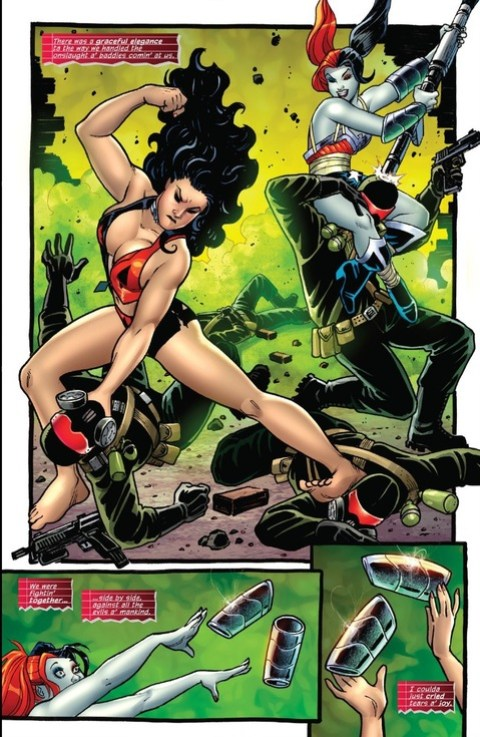 Wonder Woman continues to fight in Harley's outfit