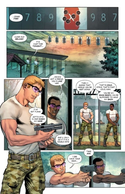 Steve Trevor down the shooting range