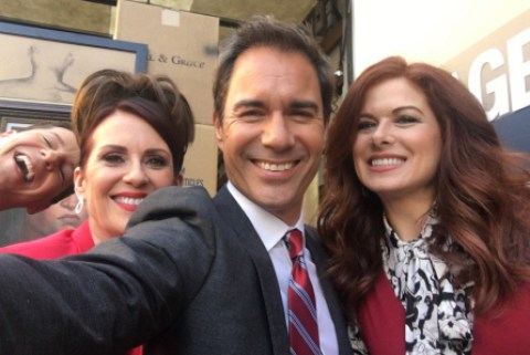 The cast of Will and Grace filming new episodes