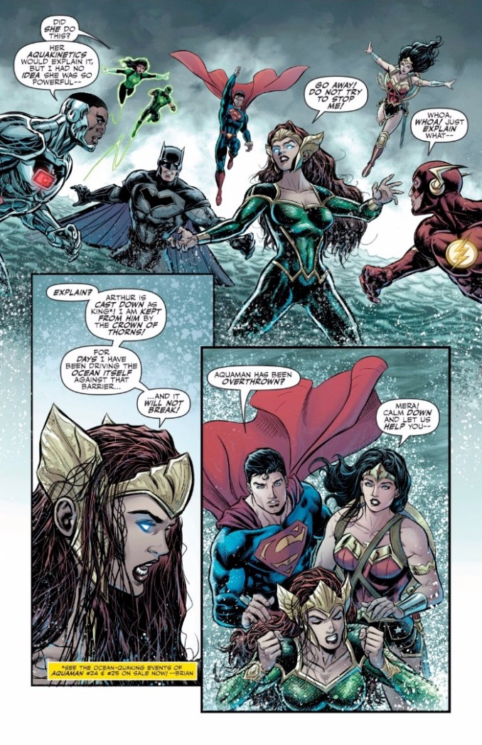 The Justice League tries to stop Mera