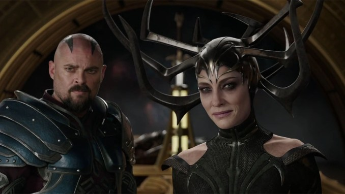 Karl Urban as Scourge and Cate Blanchett as Hella