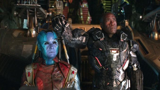 Karen Gillan and Don Cheadle in Avengers: Endgame. ©Marvel Studios 2019