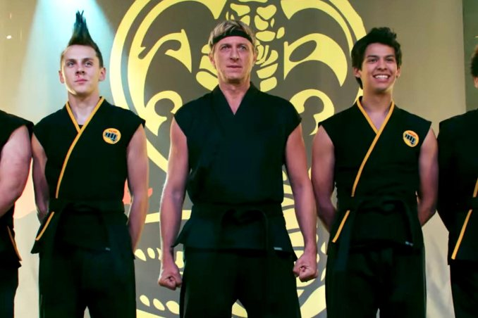 Jacob Bertrand, William Zabka and Xolo Maridueña in Cobra Kai