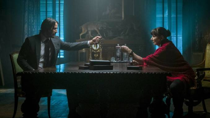 Keanu Reeves and Angelica Houston in John Wick 3
