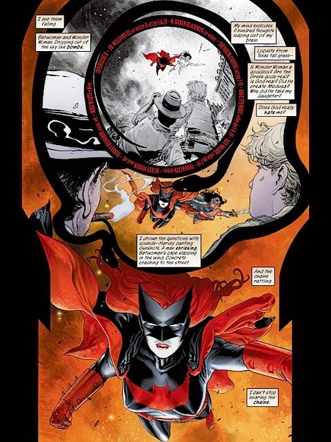 Batwoman and Wonder Woman falling