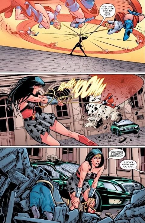 Wonder Woman defeats Powergirl