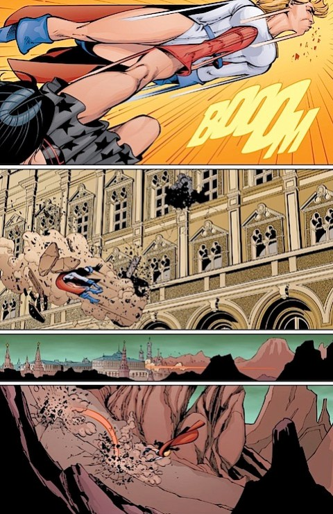 Wonder Woman kicks Power Girl