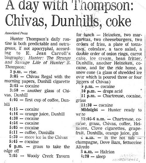 Hunter S Thompson's daily routine