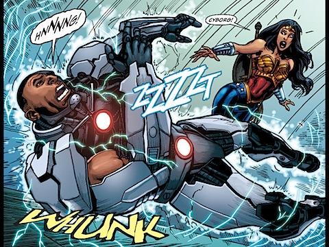 Batman shortcircuits Cyborg