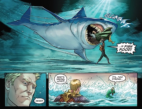 Poseidon is fed to a shark