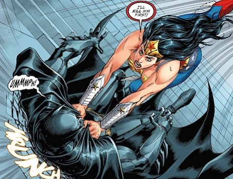 Batman gets beaten up by Wonder Woman
