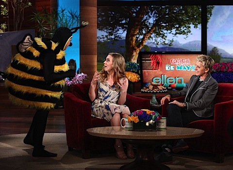 Scarlett Johansson being scared by a giant bumblebee