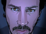 The animated Keanu Reeves in A Scanner Darkly