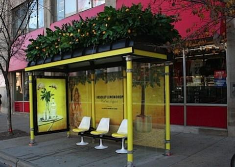Ali Larter advertising Absolut vodka as Lemon Drop at a bus stop
