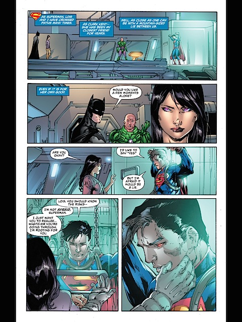 Lois touches Superman tenderly