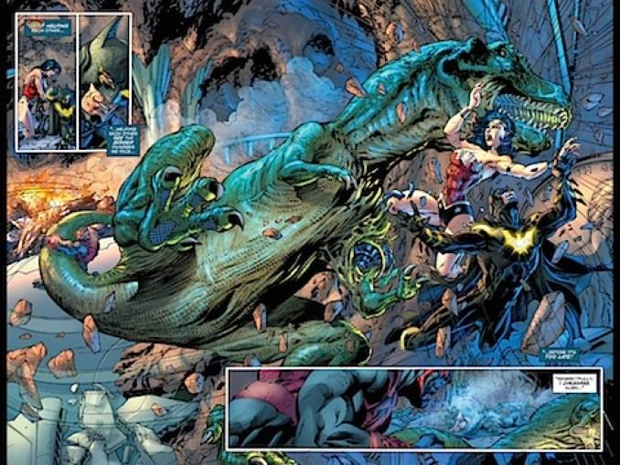 Wraith hits Wonder Woman with a dinosaur
