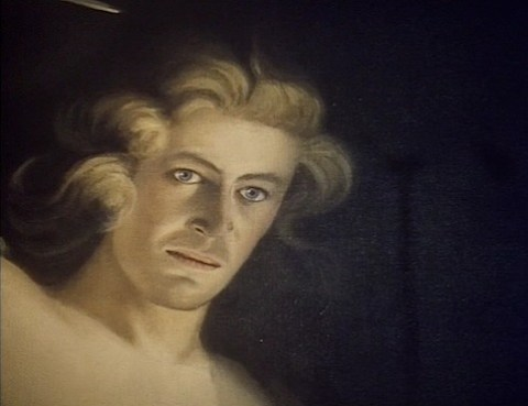 A painting of Peter O'Toole in The Dark Angel