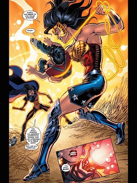 Diana saves Clark Kent from a New Goddess
