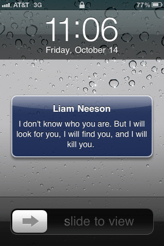 Liam Neeson stolen iPhone