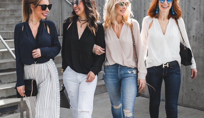 CHIC AT EVERY AGE- CUT OUT BLOUSE