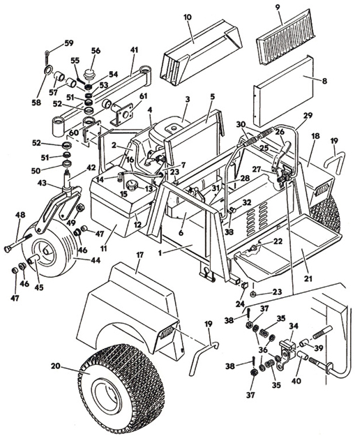 Tractor Assembly- Model 1622 1986 Grasshopper Lawn Mower