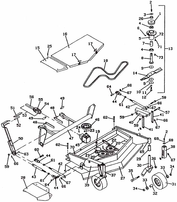 Model 2144 Front Mount Deck, 1989- Grasshopper Mower Parts