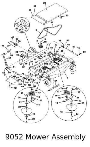 9048 / 9052 / 9061 Grasshopper Mower Deck, 1994 Parts