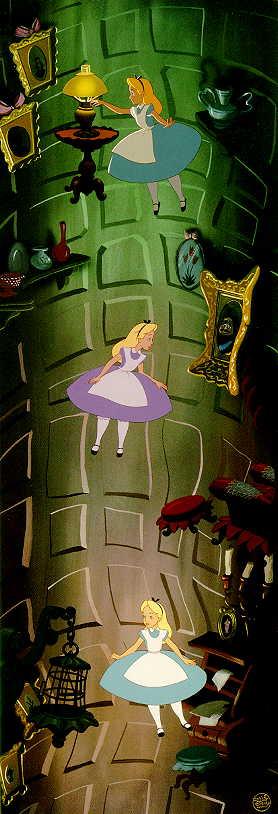 Image result for falling down the rabbit hole vintage alice in wonderland