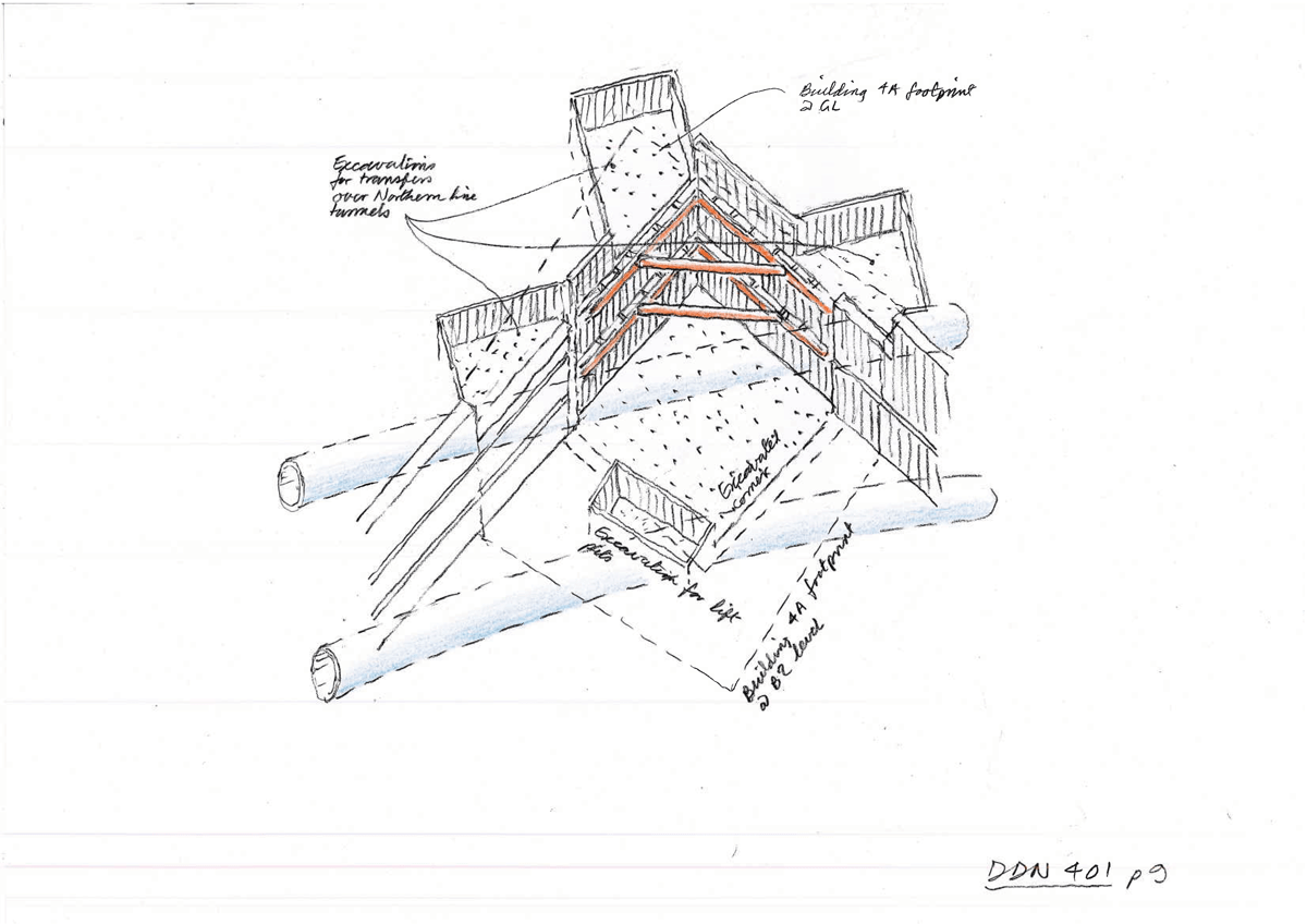 hight resolution of foundation construction part of a sequence by ron slade pencil on paper