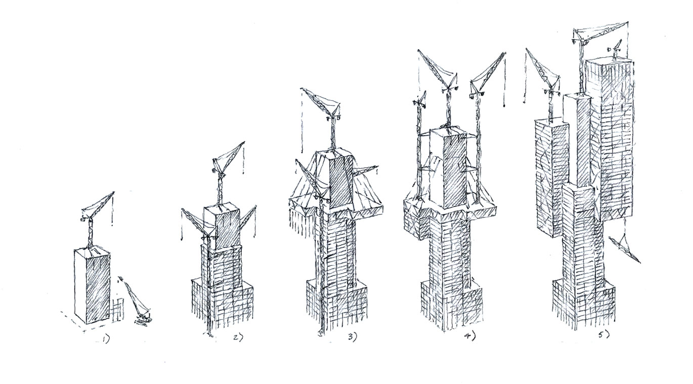 hight resolution of tall building an early construction sequence by ron slade pencil on paper