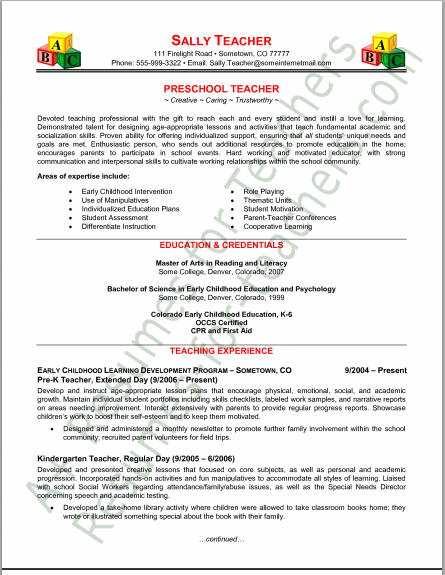 pre k teacher resume examples writing
