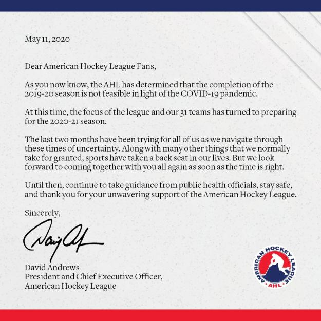 Dave Andrews Letter AHL Cancellation