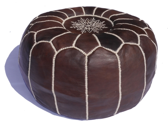 15165 moroccan pouf leather light brown