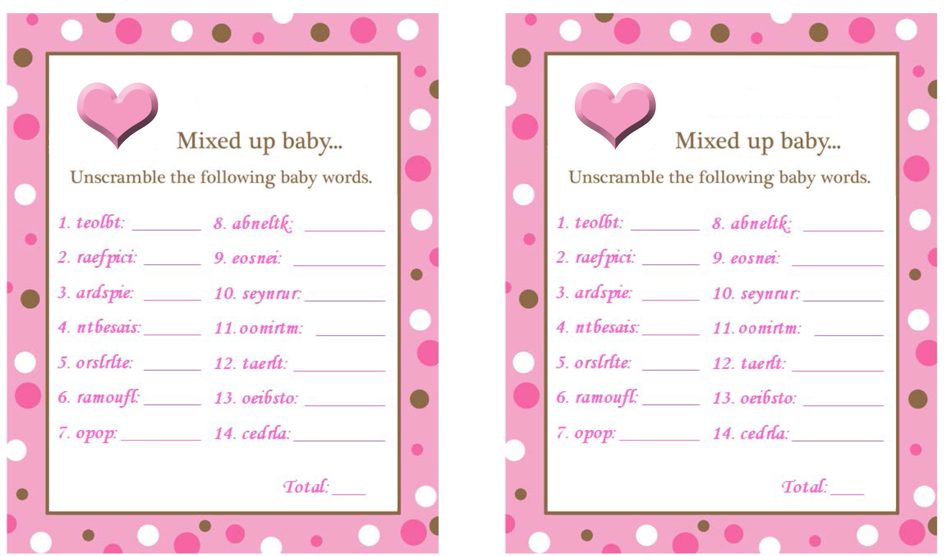 Baby Shower Word Scramble