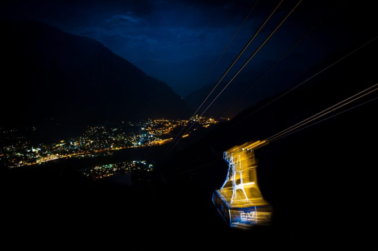 Armani funicular at night - taking guests from Plan Checrouit to downtown Courmayeur