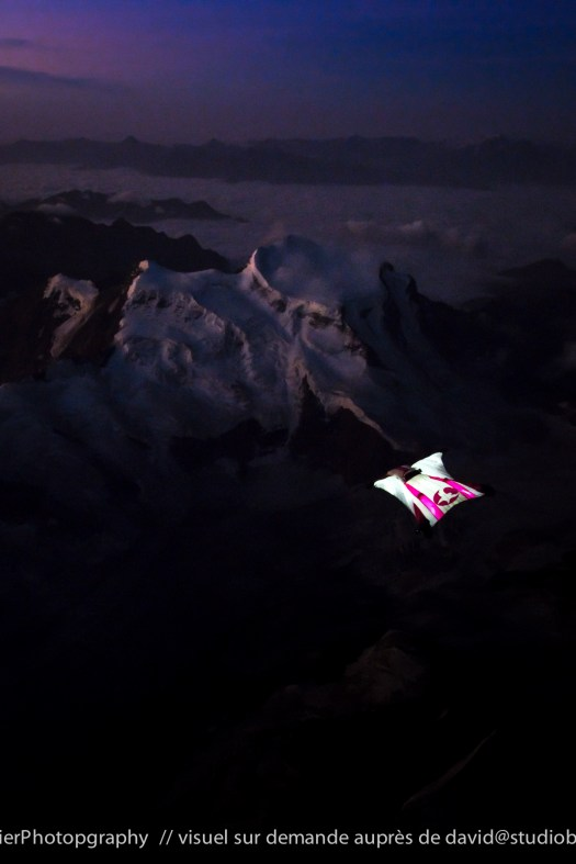 Géraldine Fasnacht - flying like a bird at night over the Alps Photographer: David Carlier