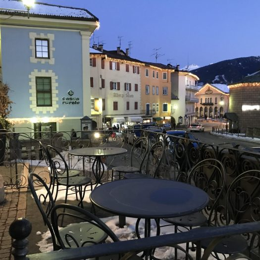 Terrace of the Pizza restaurant of Romantik Hotel Excelsior- Cavalese- Photo by The-Ski-Guru.