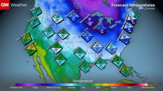 Tomorrow temperatures - Courtesy CNN.com
