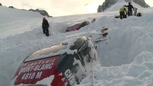 The Mont Blanc Panoramic Lift has fallen to the ground due to the weight of ice on top of its cable.
