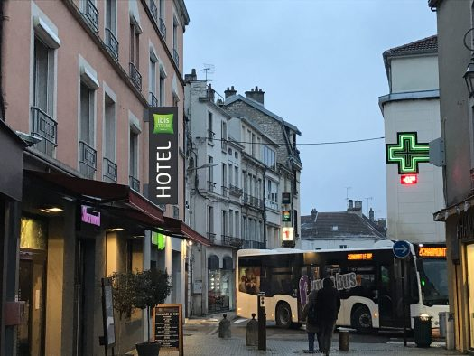 Hotel Ibis Styles in the centre of Chaumont- a recommended place to stop on your way to the Alps.