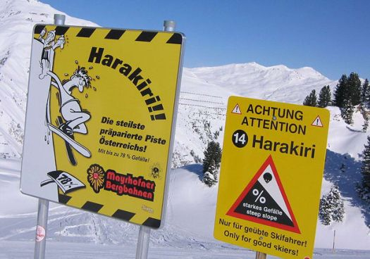 Extreme ski slope - Avalanche sign.