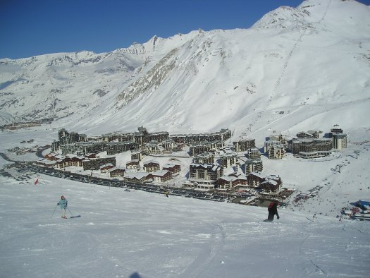 Tignes in its splendour, a very popular resort for British skiers.