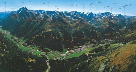 St Anton Panoramic Summer picture with peaks' names.