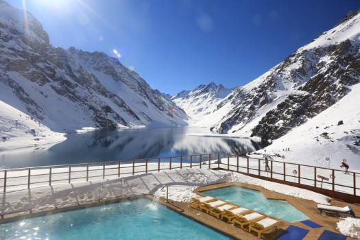 A view from the pool and hot tub at Ski Portillo - imagine yourself there... lovely! Photo by Ski Portillo.