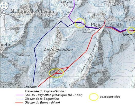 Map Pigne d'Arolla - Three accidents during the weekend break claimed several victims in the mountains of Switzerland, killing 9 victims