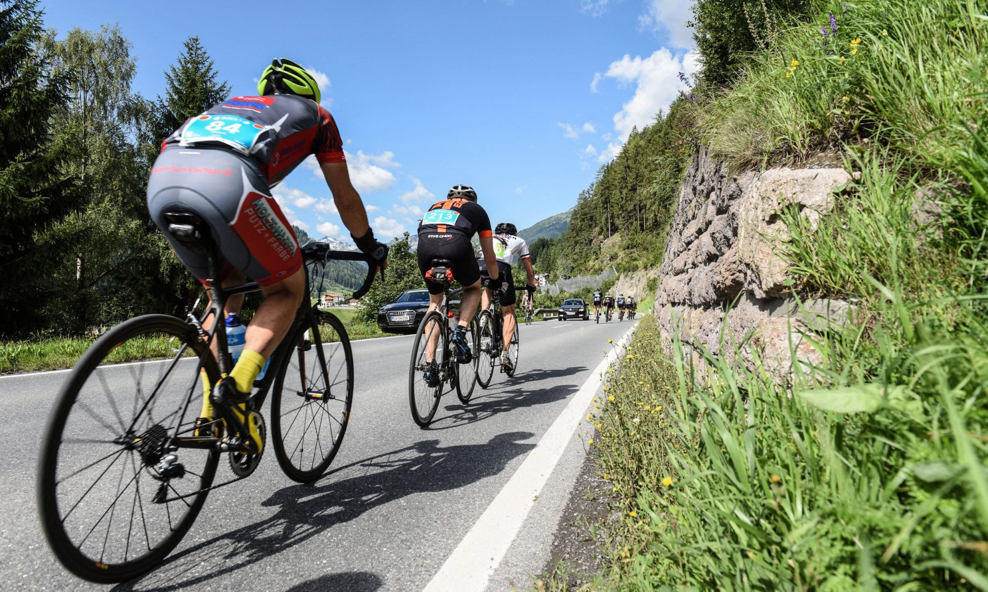 "On the 150 kilometers of the ""Arlberg Giro"" cycle race from St. Anton via Bludenz, the Montafon, the Silvretta and back, the athletes overcome 2,500 vertical meters Photo credit: TVB St. Anton am Arlberg / photographer Patrick Säly"