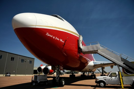 COLORADO SPRINGS, CO - JUNE 13: Global SuperTanker Services LLC's B747-400 firefighting Supertanker, the worldÕs largest firefighting plane sitting on the tarmac in Colorado Springs June 13, 2018. (Photo by Joe Amon/The Denver Post)
