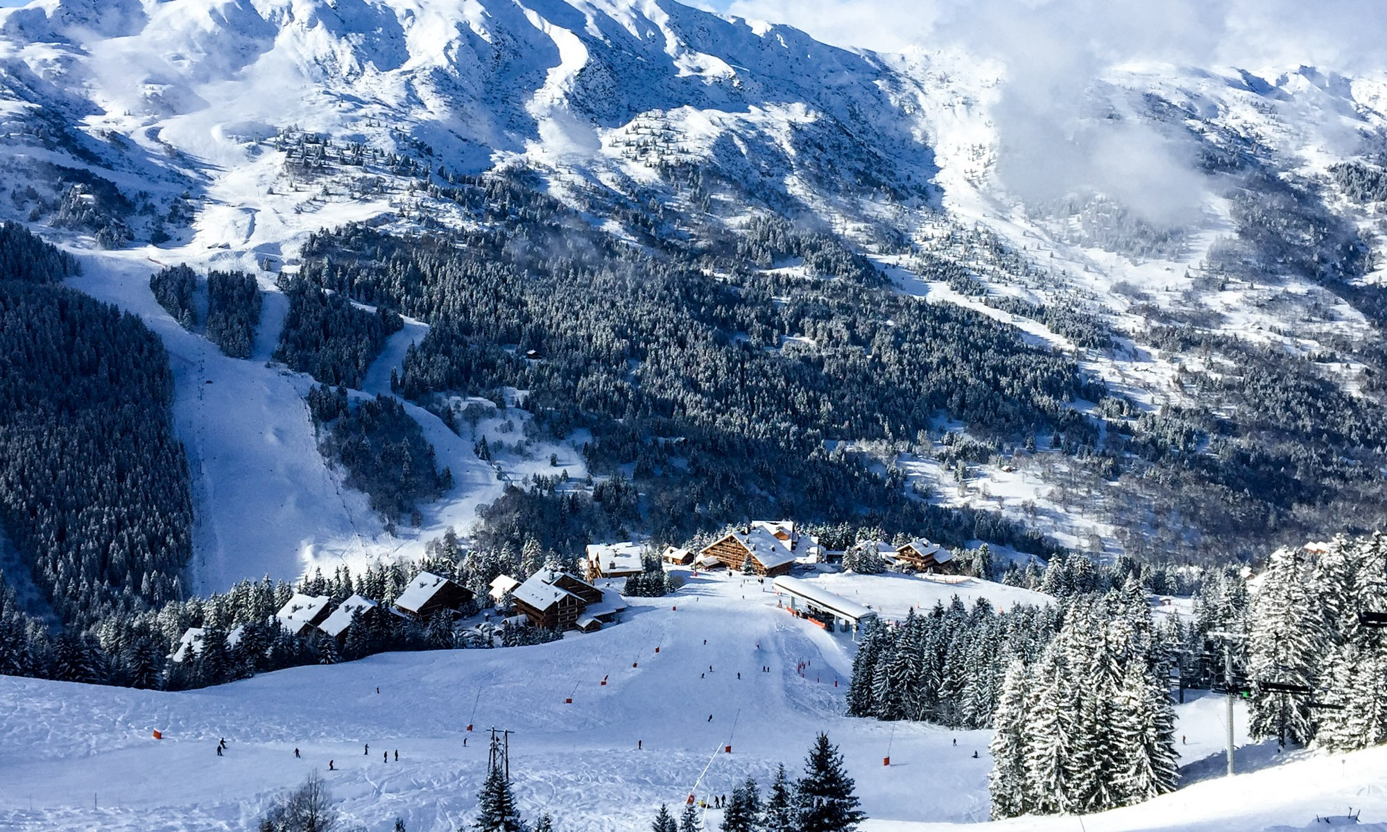 Meribel is the centre of the Les Trois Vallées, a multi-linked ski area with 600 km of pistes. Photo Meribel.