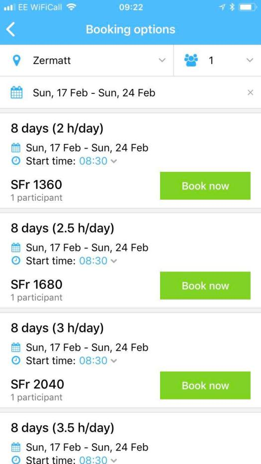 And here I've put the dates on the CheckYeti app and I am ready to select what I am going to book! As easy as that!